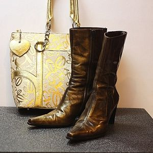 Zita Maria bronze distressed leather boots.